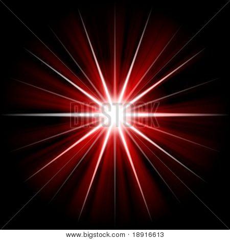 red star or supernova over black