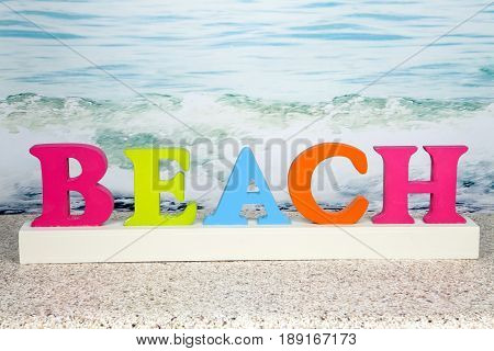 A novelty beach sign for the summer season