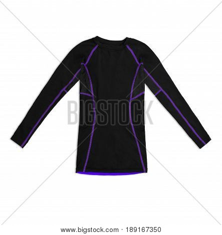 Black Long Sleeve Sports Shirt With Purple Seams Isolated On White Background