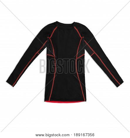 Black Long Sleeve Sports Shirt With Red Seams Isolated On White Background