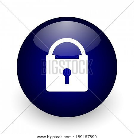 Padlock blue glossy ball web icon on white background. Round 3d render button.
