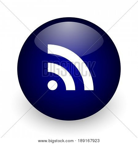 Rss blue glossy ball web icon on white background. Round 3d render button.