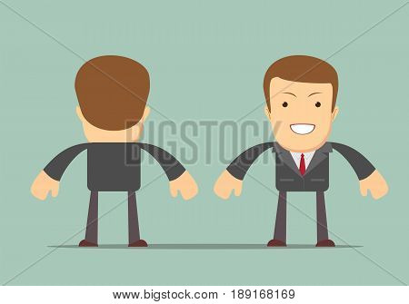Image businessman behind and front view. Isolated on background . Stock vector illustration for poster, greeting card, website, ad, business presentation, advertisement design.