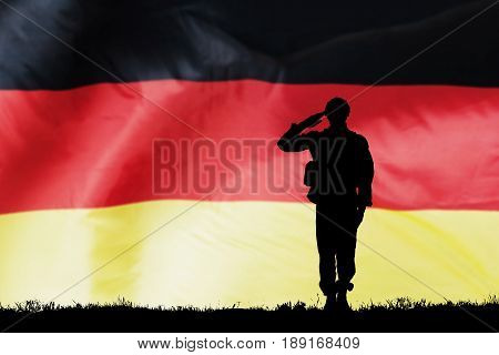 Silhouette Of A Solider Saluting Against The German Flag