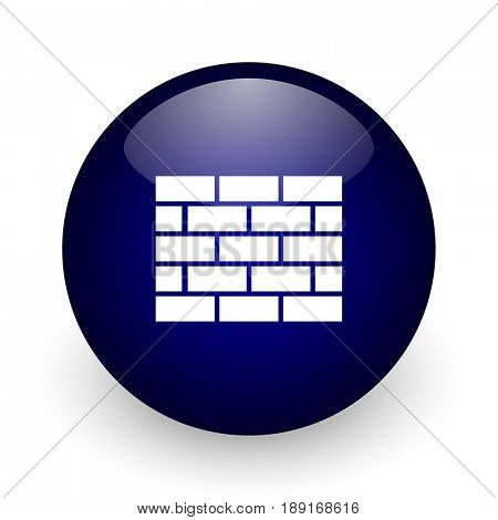 Firewall blue glossy ball web icon on white background. Round 3d render button.