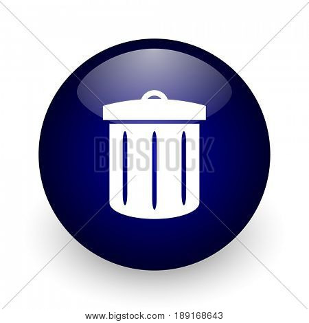 Recycle blue glossy ball web icon on white background. Round 3d render button.
