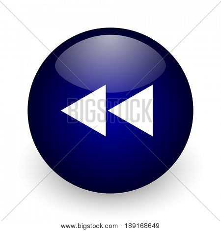 Rewind blue glossy ball web icon on white background. Round 3d render button.