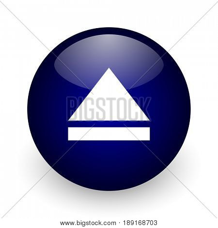 Eject blue glossy ball web icon on white background. Round 3d render button.