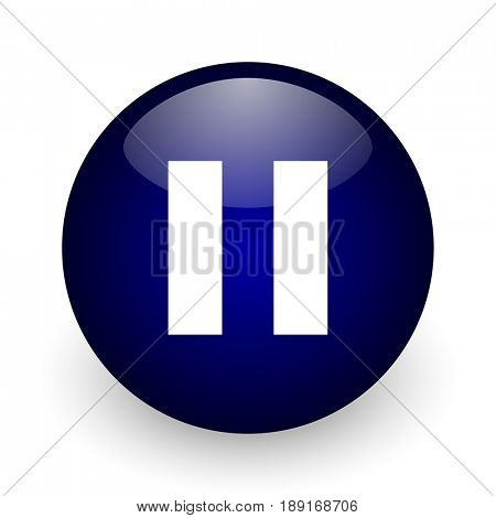 Pause blue glossy ball web icon on white background. Round 3d render button.