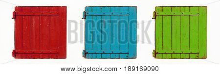 Web banner of red blue and green wooden windows