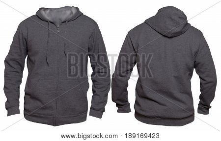 Blank sweatshirt mock up template front and back view isolated on white plain dark gray hoodie mockup. Hoody design presentation. Jumper for print. Blank clothes sweat shirt sweater