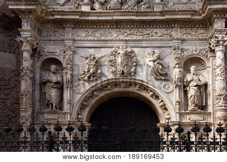 Entrance (Renaissance style) of Collegiate church of Santa Maria la Mayor Calatayud. Zaragoza province Aragon