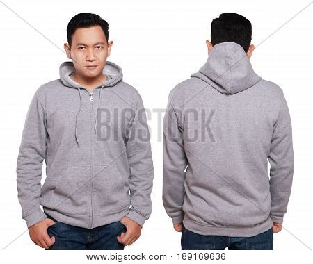 Blank sweatshirt mock up front and back view isolated on white. Asian male model wear plain gray hoodie mockup. Hoody design presentation. Jumper for print. Blank clothes sweat shirt sweater