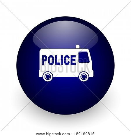 Police blue glossy ball web icon on white background. Round 3d render button.
