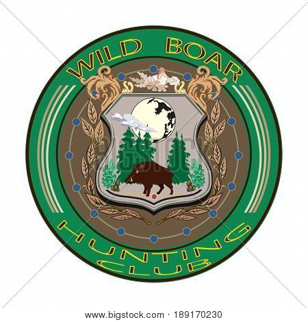 Wild boar hunting club badge vector illustration in flat style. Typography design for logo print.
