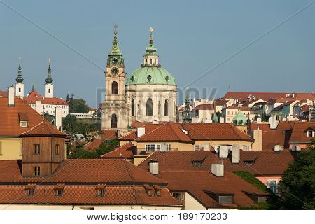 The Roofs Of Mala Strana With The St Nicholas Church