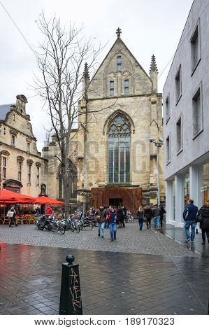 MAASTRICHT NETHERLANDS - FEBRUARY 20 2016: Selexyz bookstore in the Dominican church in Maastricht a city and a municipality in the southeast of the Netherlands