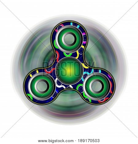 Fidget spinner on the move - toy moving for stress relief and attention enhancement. Render illustration