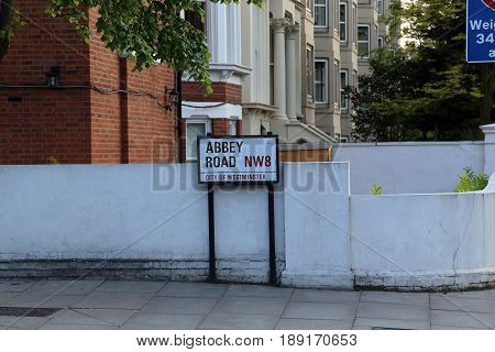 LONDON, GREAT BRITAIN - MAY 17, 2014: This is an index of the well-known street in the music world - Abbey Road.