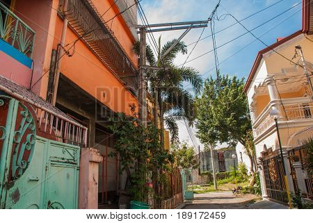 Local Street With Houses In The Philippines Capital Manila