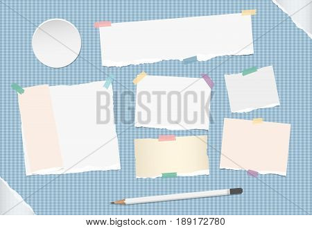 Ripped note, notebook, copybook stuck with sticky tape, white pencil on blue squared background, grey ripped paper in corners, circle badges, buttons