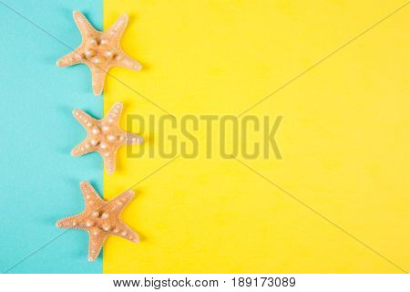 Three Starfishes On Colored Mint And Yellow Backgrounds With Negative Space, Top View