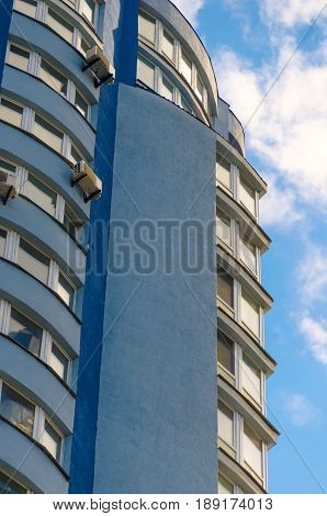 Tall residential building. High-rise buildings modern architecture skyline.
