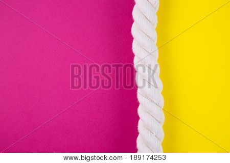 Sea Rope On Colored Backgrounds With Negative Space. Summer Background In Minimalism.