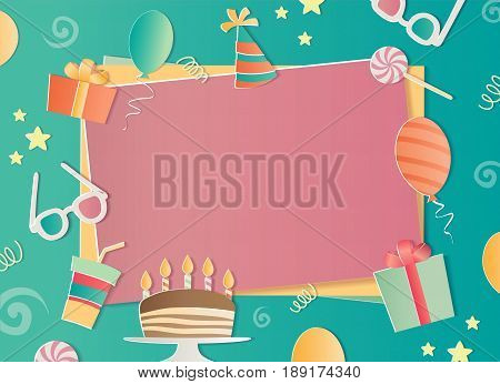 Happy Birthday photo frame. A realistic image that simulates paper. Aspect ratio photography 3:2