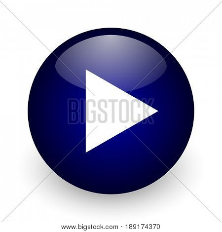 Play blue glossy ball web icon on white background. Round 3d render button.