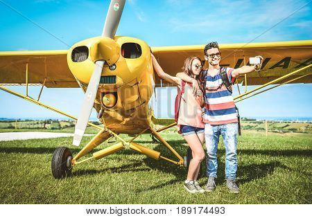 couple of lovers having a rest during charter airplane excursion