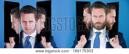 man or serious businessman reflecting in mirror on blue background. Bearded or clean shaven face. Facial hair trend. Skin care. Choice decision agile business archaism