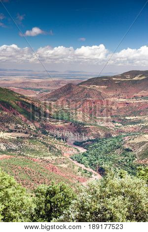 Morocco, High Atlas Landscape. Valley near Marrakech on the road to Ouarzazate.Spingtime, sunny day. Africa.