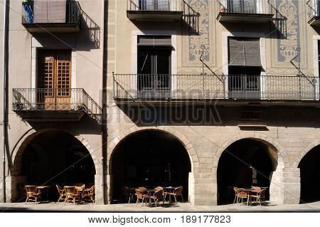 arch of Square of El Vi Girona Catalonia Spain
