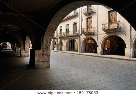 The Square of El Vi in Girona Catalonia Spain