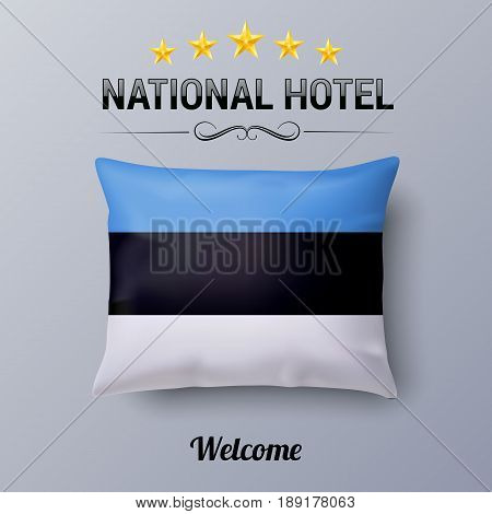 Realistic Pillow and Flag of Estonia as Symbol National Hotel. Flag Pillow Cover with Estonian flag