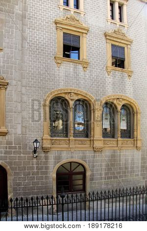 Modernist facade in the city of Vic Barcelona province Catalonia Spain