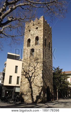 Romanesque Tower of Square in LLansa Costa Brava Girona province Catalonia Spain