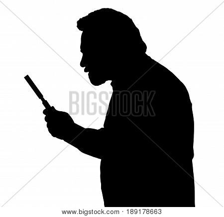 Silhouette Of Bearded Man Investigating With A Magnifying Glass