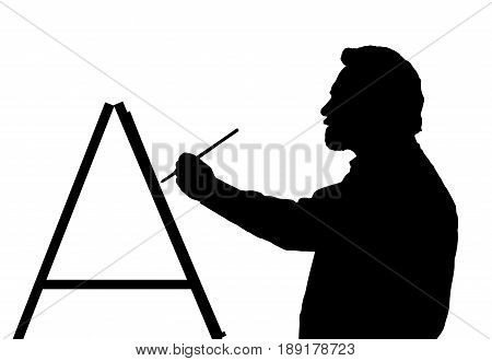 Silhouette Of Bearded Master Art Painter Painting