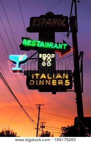 SACRAMENTO, CALIFORNIA, USA - September 17, 2009: Neon sign outside the Espanol restaurant