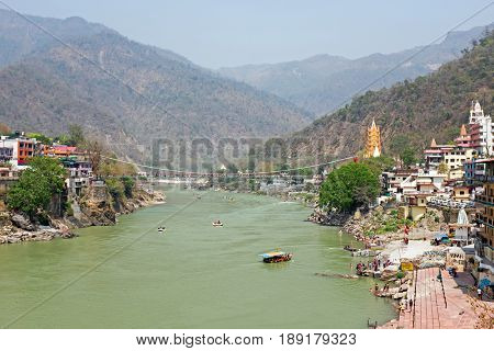 View on the Ganga near Laxman Jhula in India Asia