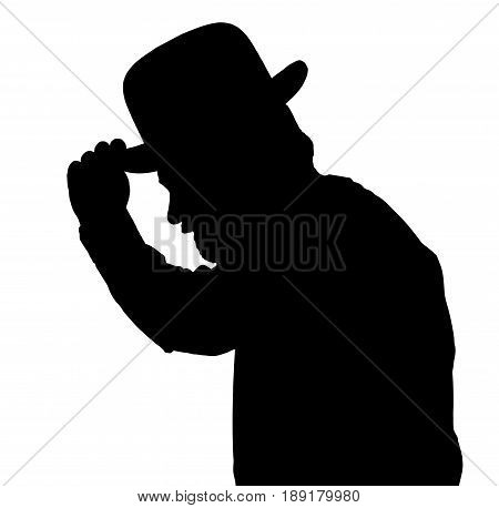 Vintage Silhouette Of Bearded Man Greeting By Tilting Hat