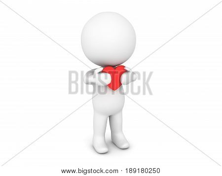 3D Character holding red cartoon heart close to his chest. Image could convey being needy or cherising love.