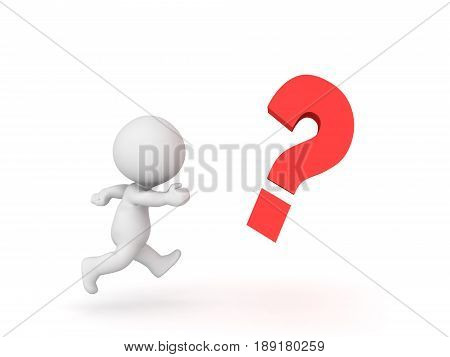 3D Character chasing after question mark . Image depicting the concept of trying to solve an question.