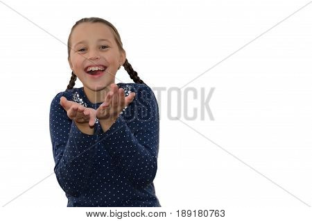 Girl holds out his hands and laughs heartily. Isolated on white.