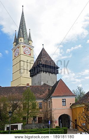 Medias Fortified Saxon Church Transylvania Romania old color bell tower