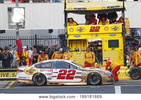May 28, 2017 - Concord, NC, USA: Joey Logano (22) comes down pit road for service during the Coca Cola 600 at Charlotte Motor Speedway in Concord, NC.