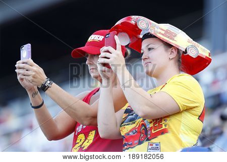 May 28, 2017 - Concord, NC, USA: Fans cheer on their favorite drivers during the Coca Cola 600 at Charlotte Motor Speedway in Concord, NC.