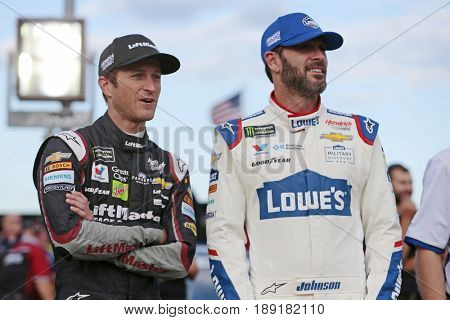 May 25, 2017 - Concord, NC, USA: Jimmie Johnson (48) and Kasey Kahne (5) hang out on the grid before qualifying for the Coca Cola 600 at Charlotte Motor Speedway in Concord, NC.